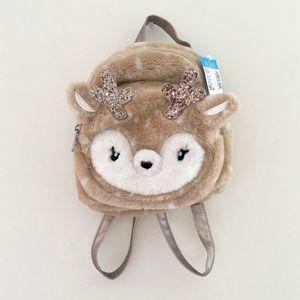 Adorable Deer Faux Fur Sequin Toddler Backpack